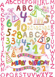 alphabet, numbers, and items for children's holid Royalty Free Stock Photo