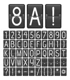 Alphabet and numbers from mechanical scoreboard. Flipping panel from airport or sport stadium. Alphabet and numbers from mechanical scoreboard. Vector royalty free illustration