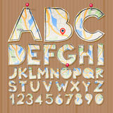 Alphabet and numbers, paper craft design, cut out Stock Image