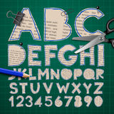Alphabet and numbers, paper craft design, cut out. By scissors from newspaper. Vector illustration vector illustration