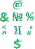 Alphabet, numbers and punctuation , hand- painted blue-green and Royalty Free Stock Photos