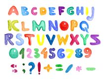 Alphabet, numbers and punctuation, watercolor. Colorful watercolor aquarelle font type handwritten hand draw abc alphabet letters. numbers and punctuation Royalty Free Stock Photos