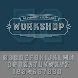 Alphabet numbers retro colour style. Vector eps10 illustration Royalty Free Stock Photos