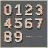 Alphabet numbers retro colour style. Royalty Free Stock Image
