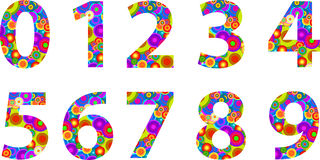 Alphabet Numbers With Retro Disco Circles Royalty Free Stock Photo