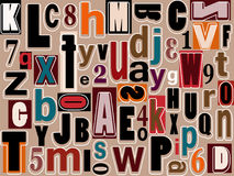Alphabet and numbers. Scattered over background Royalty Free Stock Photo