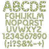 Alphabet, numbers and signs from mint sweets. Isolated colored vector objects on white background Stock Photography