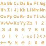 Alphabet, numbers and signs set, paper Royalty Free Stock Photos