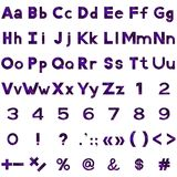 Alphabet, numbers and signs set, serpentines Royalty Free Stock Photos