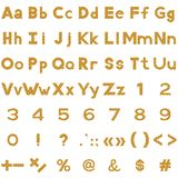 Alphabet, numbers and signs set, wood Stock Images