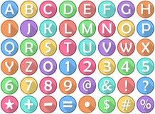 Alphabet Numbers Symbols Flat Round Icons Stock Photos