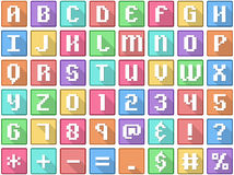 Alphabet Numbers Symbols Flat Square Icons Arcade Royalty Free Stock Photo