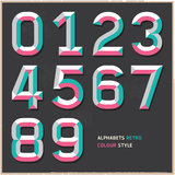 Alphabet numbers vintage colour style. Royalty Free Stock Photos