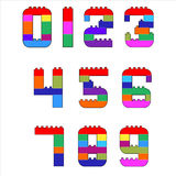 0316_67 alphabet. Numerals created from lego blocks. Vector cartoon playing bricks.Children number Vector Set - More Letters in Portfolio Royalty Free Stock Image