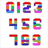0316_67 alphabet. Numerals created from lego blocks. Vector cartoon playing bricks.Children number Vector Set - More Letters in Portfolio vector illustration