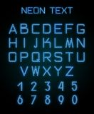 Alphabet and numerals created with neon light. English alphabet and numerals created with blue neon light on black background. Template for advertising text Vector Illustration