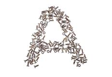 Alphabet from nuts and bolts Stock Images