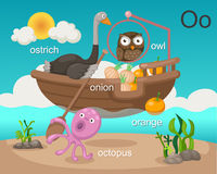 Alphabet.O. Letter ostrich onion octopus orange owl Stock Photo