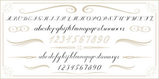 ALPHABET Old handwritten letters and numbers Royalty Free Stock Photography