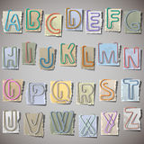 Alphabet on old paper. Alphabet letters made from paperclip on old paper Stock Image