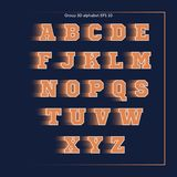 Alphabet orange sport team. On dark blue background Stock Photography