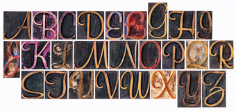 Alphabet in ornamental wood type Stock Photography
