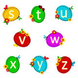 Alphabet oval from S to Z Royalty Free Stock Images