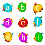 Alphabet oval from A to I Stock Photo