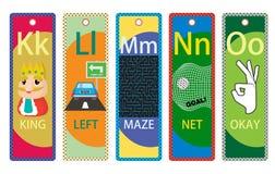 Alphabet-pädagogische Bookmarks K-O für Kinder Lizenzfreie Stockbilder
