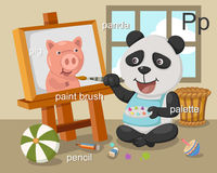 Alphabet.P. Letter pig panda paintbrush pencil palette Royalty Free Stock Image