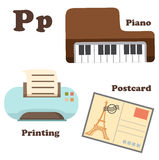 Alphabet P letter.Piano,Postcard,Printing Stock Images