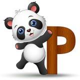 Alphabet P with Panda cartoon Stock Photos