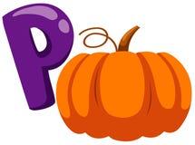 Alphabet P pour le potiron Images stock