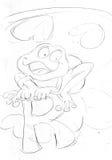 Alphabet p r as a frogr sketch pencil drawing, Royalty Free Stock Photos