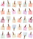 Alphabet painted on memo no Stock Images