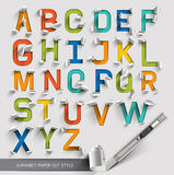 Alphabet paper cut colorful font.