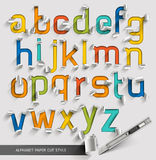 Alphabet paper cut colorful font style. Royalty Free Stock Photos