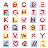 Alphabet on  paper note stickers. Stock Photo