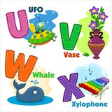Alphabet Part 5. English alphabet  U V W X with letters and pictures to them Royalty Free Stock Photo