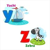 Alphabet Part 6. English alphabet  Y Z with letters and pictures to them Stock Image