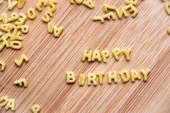 Alphabet pasta forming the text Happy Birthday Royalty Free Stock Photos