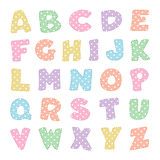Alphabet with Pastel Polka Dots. Multicolored pastel alphabet with polka dots and stitchery for baby albums, back to school projects, scrapbooks. EPS8 compatible Stock Photography