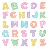 Alphabet, pastels avec des points de polka illustration stock