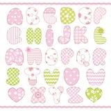 Alphabet. Patchwork scrapbook alphabet for baby girl Royalty Free Stock Photography