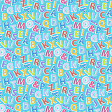 Alphabet pattern seamless. Alphabet pattern on a blue background.Vector seamless pattern with letters hand draw doodle style illustration.ABC background Royalty Free Stock Photo