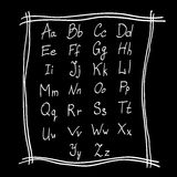 Alphabet pencil drawing in  on a black background Stock Photos