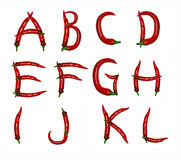 Alphabet of peppers Stock Image