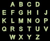 Alphabet phosphorescent de majuscules images stock