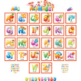 Alphabet with pictures for children Stock Photos