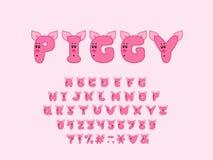 Alphabet piggy design. Upper case English letters. Bold font clip art, cartoon style. Vector illustration. EPS 10. Alphabet piggy design. Upper case letters royalty free illustration